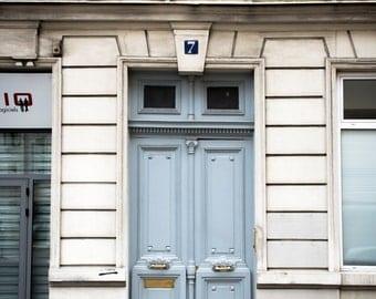 """Paris Photography, Color Photography, Paris Architecture, paris door, door in paris, paris print, french door, Blue, Gold, """"Blue and Brass"""