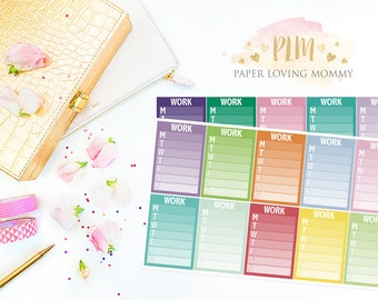 20 Work Sidebar Stickers   Planner Stickers designed for use with the Erin Condren Life Planner   1108