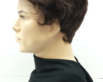 Brown Short Fluffy Pompadour Style Men's Wig. Synthetic Fashion Wig.