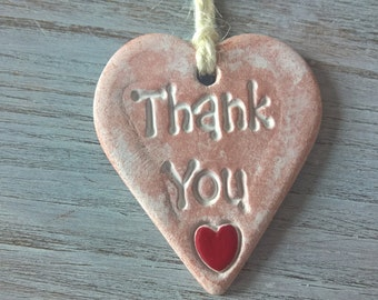 Thank You heart - Air Dry Clay  Wall/ Door hanging, gift tag, small keepsake, shabby chic, air dry clay heart - red shiny heart detail