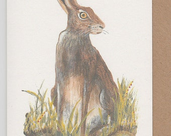 Brown hare card. Norfolk hare painting. Hare card. Hand painted. Printed on recycled card