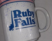 Ruby Falls Coffee Mug Cup Speckled Colorful Blue Pink Tennessee Confetti
