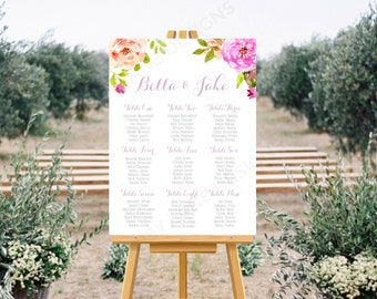 Personalised Printable Wedding Seating Chart, Wedding Table Plan - Bella Floral Collection