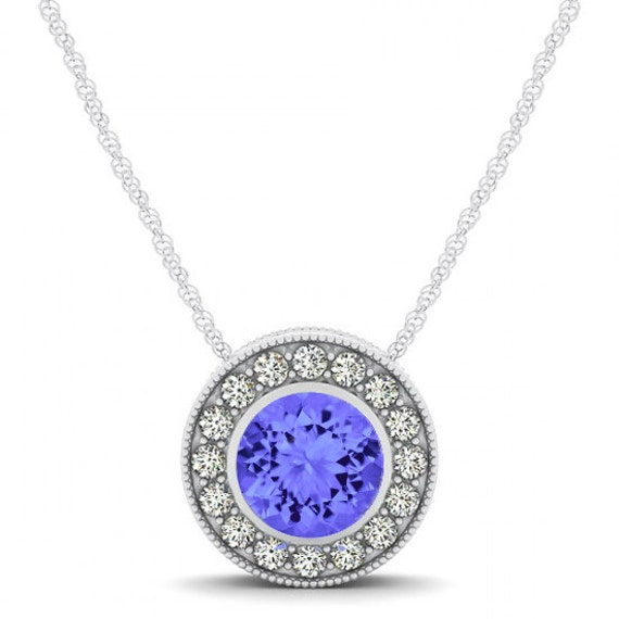 Tanzanite Necklace Tanzanite: Tanzanite & Diamond Halo Pendant Necklace 14k White Gold