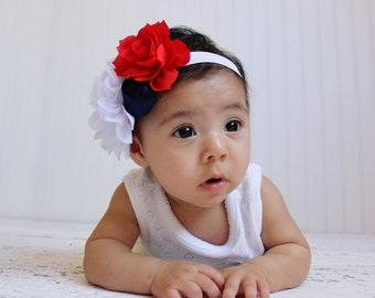 red white and blue fourth of july headband for girls and babies