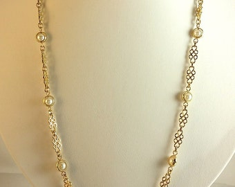 Vintage Pearl Gold Necklace