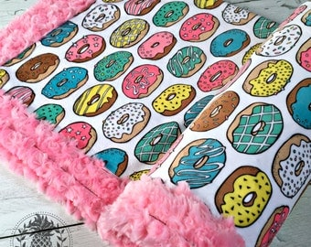 Donut Minky Blanket - Designer Minky - Pink