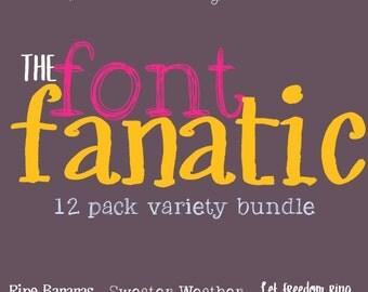 Digital Font Download- Handwritten Font Bundle- Commercial Use, Font Fanatic 12 Pack Bundle