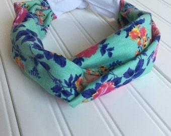 Turban style headband,pink flowers,tie back headband,women's accessories,yoga headband,floral,top knot headband,twisted headband,