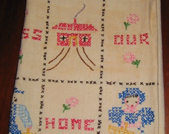 Vintage God Bless Our Home Tea Towel