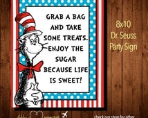 Dr. SEUSS TREATS SIGN Sign Party Signs-  Digital File