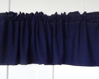 Solid Navy Blue Curtain Valance