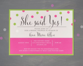 She Said Yes! - Printable Bridal Shower Invitation