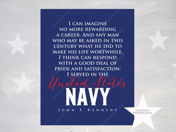 Printable Navy Quote By JFK Instant Download By