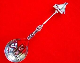 DUTCH Sterling FIGURAL SAILBOAT Handle & Embossed Bowl Spoon