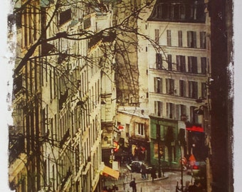 Paris Art, Large Print, watercolor, Paris photo transfer, streets of Paris, street view, Paris wall decor