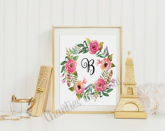 Monogram Letter 'B' Floral Wreath Artwork Printable 8x10