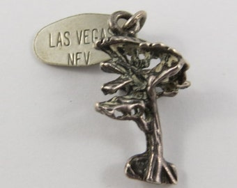 Tree With Las Vegas NFV Tag Sterling Silver Vintage Charm For Bracelet