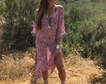 One Size Pink Floral Embroidered Kimono Beach Coverup Dress