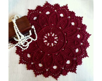 "Crochet Doily Burgundy –12"" Diameter – Round Lace Doily – Crochet Table Topper – Centerpiece -  Textured Doily 3D - Gift Idea."