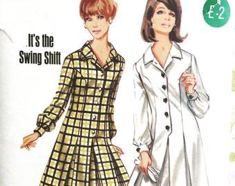 1960's Swing Shift Mini Dress Vintage Sewing Pattern, Unused, Uncut Pattern