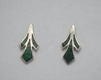 Malachite and silver earrings small and vintage