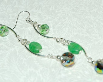 Handmade Curved Tube Earrings in Green Featuring Marea crystal