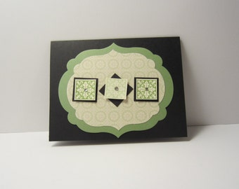 Triple Green Square Card