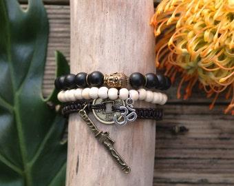 All bracelets, Buddha, Ohm, antique room, Onyx, sandalwood, leather