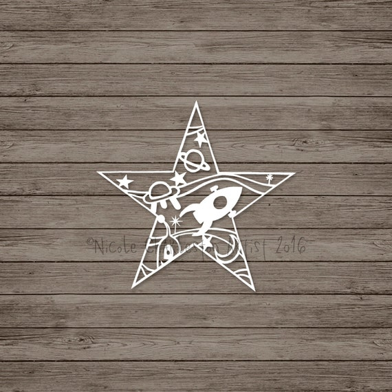 Items similar to space filled star papercut template boys for Paper star cut out template