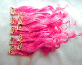 HOT PINK Human Hair Extensions : DOUBLE Wefted Clip In Hair Extensions, Remy Hair Extensions, Ombre Hair, Pink Hair Extensions