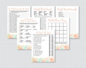 Beach Themed Bridal Shower Games Package with Six Games- Printable Coral Nautical Bridal Shower Games - He Said She Said, Bingo, etc 0012-C