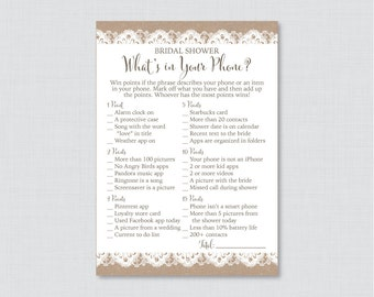 Burlap and Lace What's in Your Phone Game - Printable Rustic Bridal Shower Phone Game - Burlap and Lace Bridal Shower Phone Search 0003