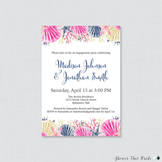 Beach Themed Engagement Party Invitation Printable or Printed – Beach Themed Engagement Party Invitations