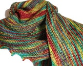 Red Yellow Green Blue Orange Multi-Coloured Hand Knitted Asymmetric  Scarf