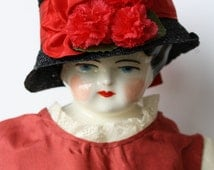 """Vintage Doll hat in Fine Black straw, Satin Moore Ribbon and tiny Red carnations For your Antique Dolls ~ 10"""" head or under"""