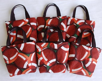 Set of 6 Sports Fabric Gift Bags/ Party Favor Bags/ Goody Bags- Football