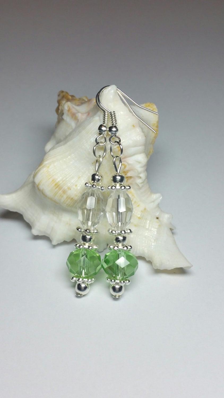 20% DISCOUNT SALE Green Glass Beaded Earrings Dangle Drop Earrings Silver Handmade & 20% DISCOUNT SALE Green Glass Beaded Earrings Dangle Drop Earrings ...