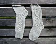 Hand knit socks Cable knit socks Knit long socks Women high socks Boot high socks Wool knit socks boot Gift for wife Made to order