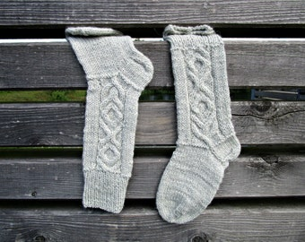 Hand knit socks Cable knit socks Knit long socks Women high socks Boot high socks Warm socks Wool knit socks boot Gift for wife for her