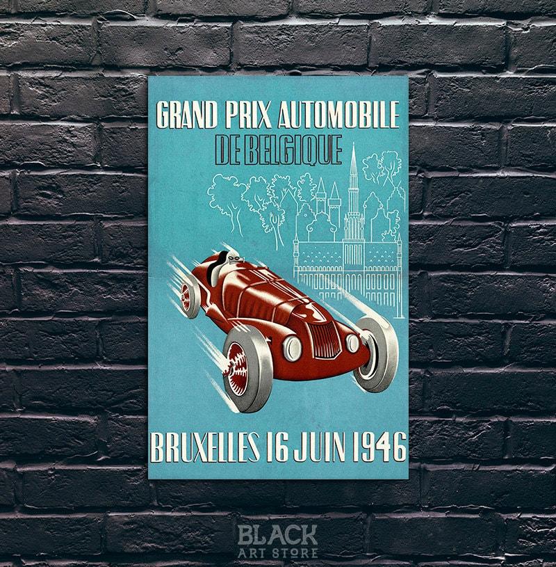 grand prix automobile de belgique poster car race poster. Black Bedroom Furniture Sets. Home Design Ideas