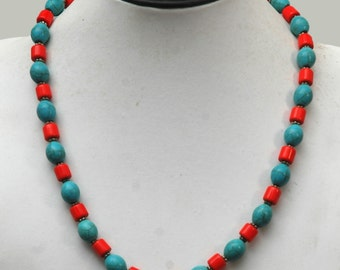 Coral Necklace, Coral and Turquoise Jewelry, Statement Necklace, Turquoise Coral Necklace