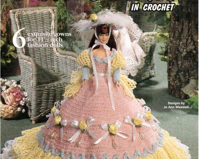 Featured listing image: 6 Designs! Cotillion Ball Gowns in Crochet Fashion Doll Dress pattern, fits Barbie dolls. Thread Crochet Dress designs by Jo Ann Maxwell.