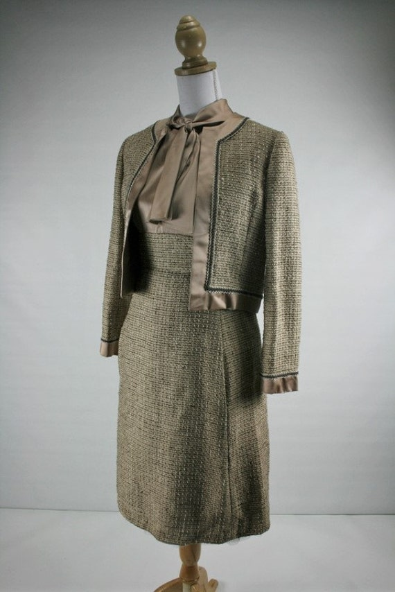 1960s S/M Elinor SIMMONS for Malcolm Starr taupe satin and grosgrain weave dress/jacket set 35/26/36