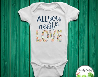 Baby Girl Coming Home Outfit, Baby Girl Onesie, Toddler Girl Shirt, Newborn Girl Outfit, Baby Girl Bodysuit, All You Need Is Love, Flower