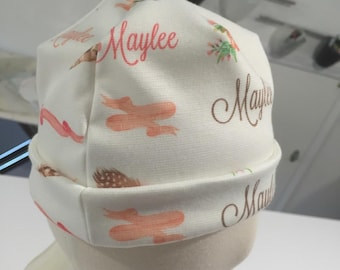 Personalized Ribbons and Roses Peach Beige Baby Hat Knotted Rounded Cap Personalization Baby Gift Newborn Photography Hat For Baby Girl Name