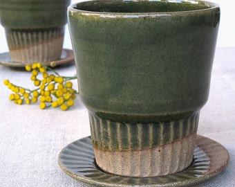 ceramic tumbler, tea cup and saucer set, green tumbler, coffee tumbler, water tumbler, tea cup and saucers sets,teacup and saucer, mug set