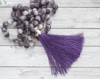 Amethyst tassel necklace / Violet necklace / Hand knotted natural matte amethyst necklace /  gift boho necklace for wife