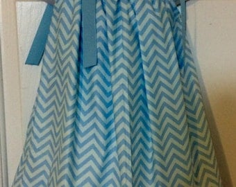 Blue Chevron Pillowcase Dress Size 2T