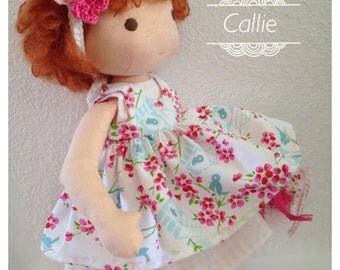 Vintage Inspired Cloth Doll - Callie -  Handcrafted - Pink Dress, Wool Felt Shoes, Leggings, Shawl